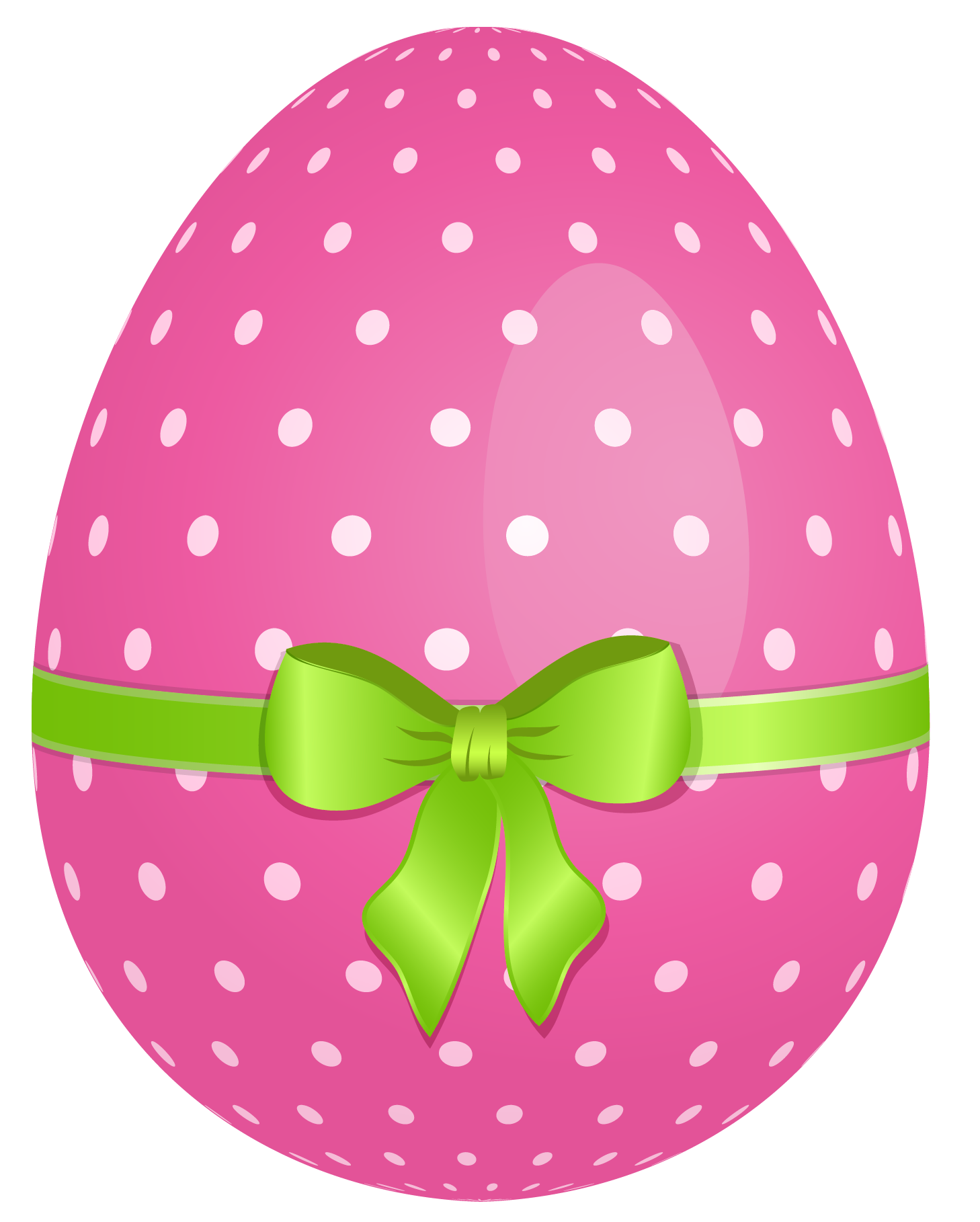 Pink dotted egg with. Bows clipart easter