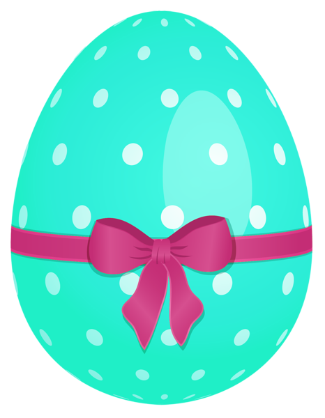 Sky with green bow. Blue clipart easter egg