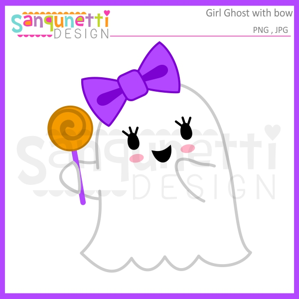 Bows clipart ghost. Sanqunetti design girl with
