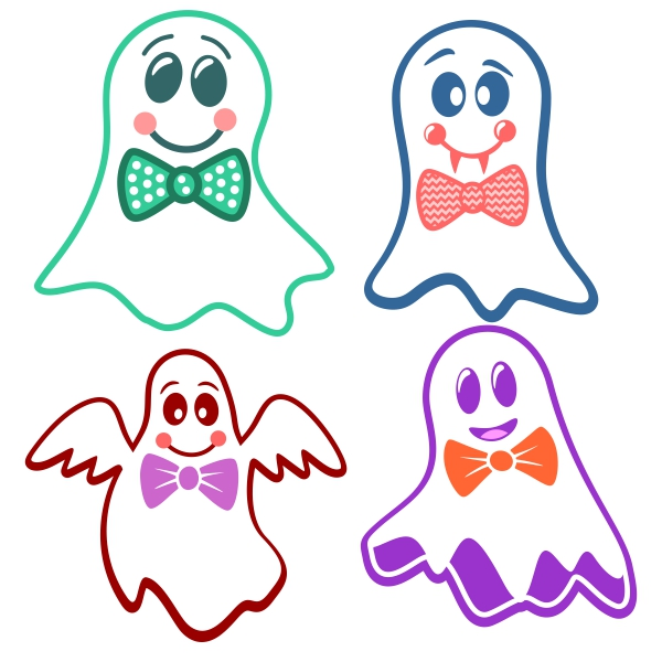 Bow tie svg cuttable. Bows clipart ghost