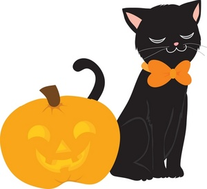 Free black cat image. Bow clipart halloween