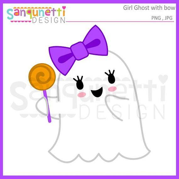 Girl ghost fall. Bow clipart halloween