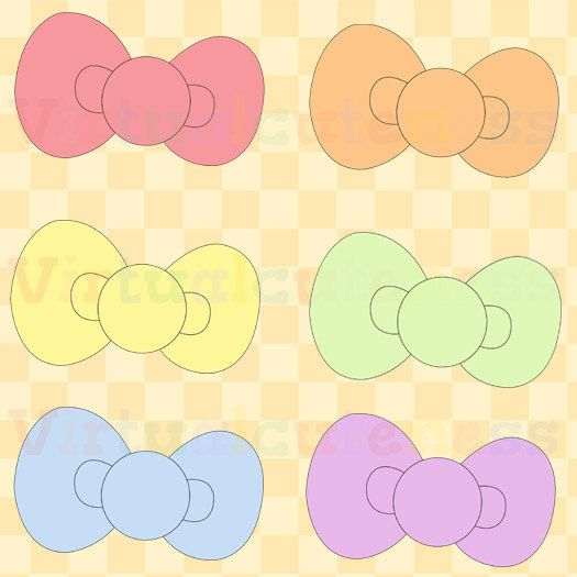 Bows clipart kawaii. Cute pastel printable stickers