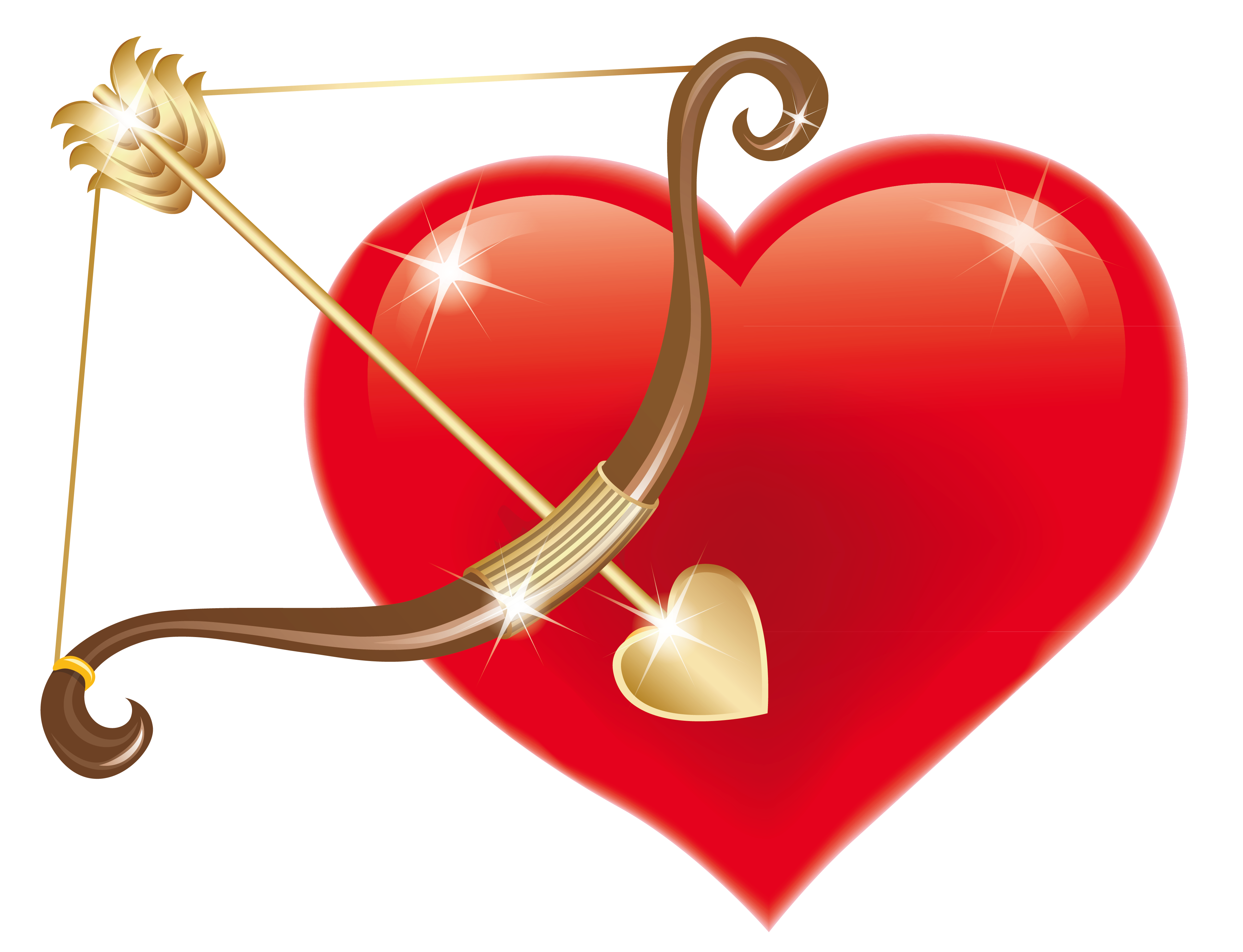 Heart with cupid bow. Raindrop clipart red