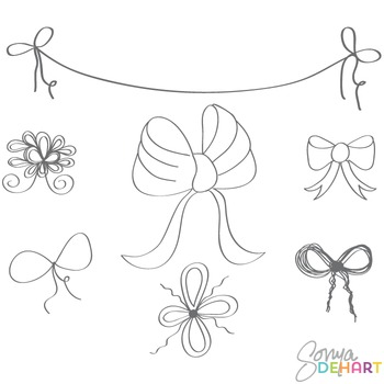 Doodle freebie by sonya. Bows clipart line art