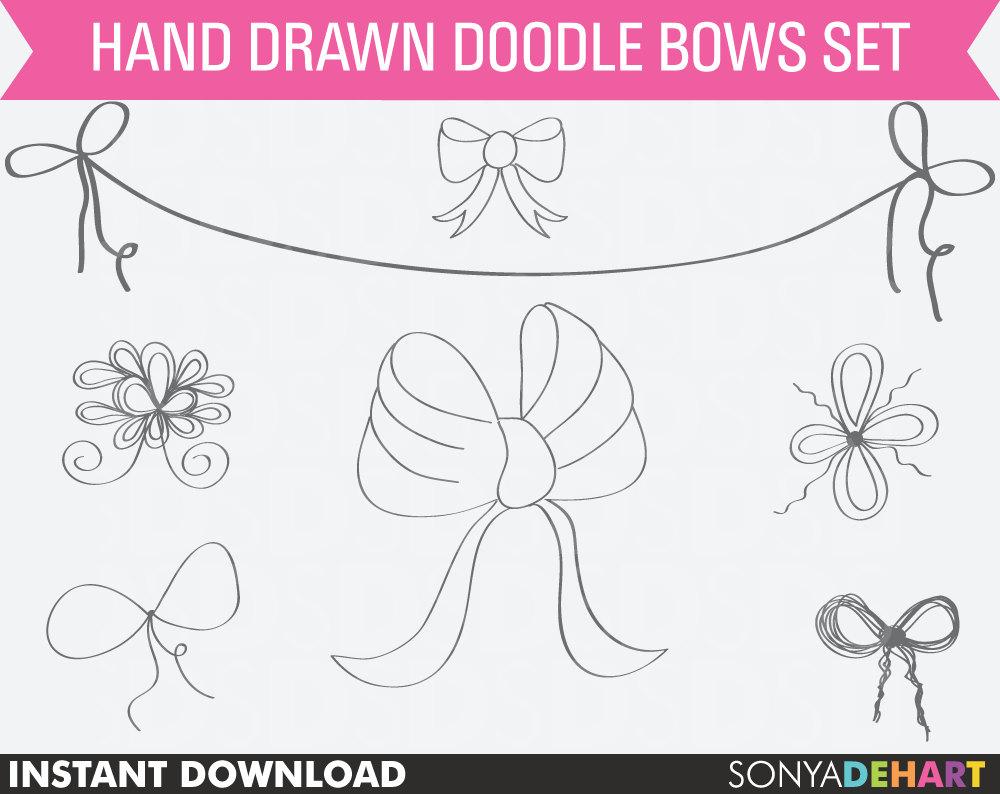 Bow clipart line art. Bows digital clip ribbon