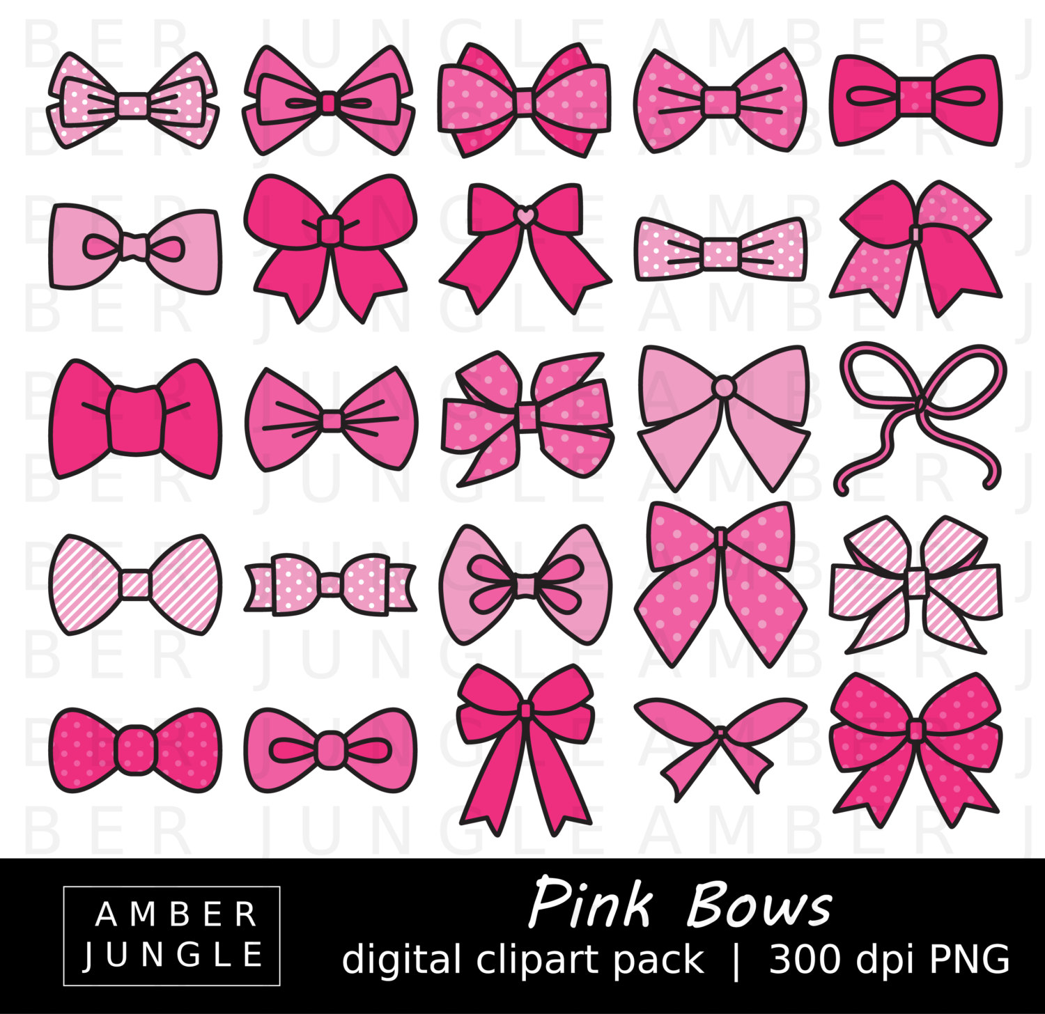 Bows clipart line art. Pink bow images instant