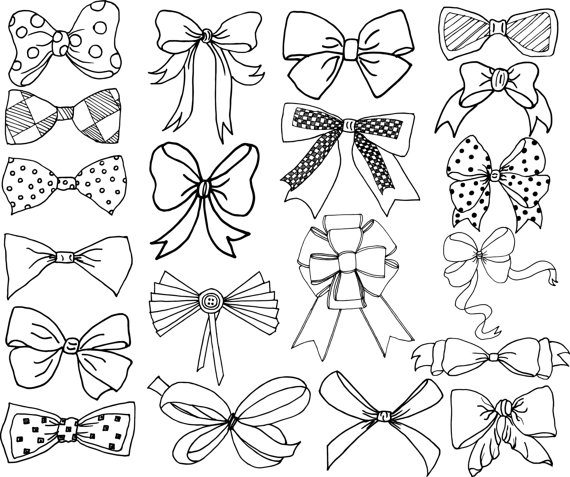 Bows clipart line drawing. Clip art doodle ribbons