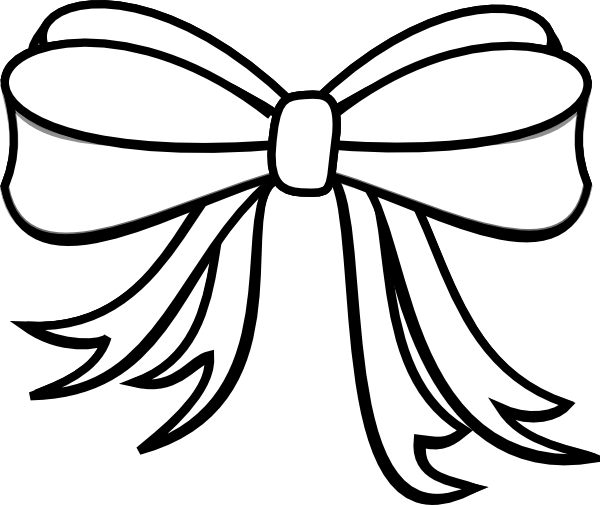 Bow clipart line drawing. Black and white present