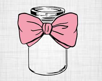 With bow etsy svg. Bows clipart mason jar