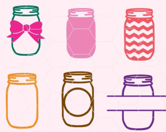 Cutting file svg dxf. Bows clipart mason jar
