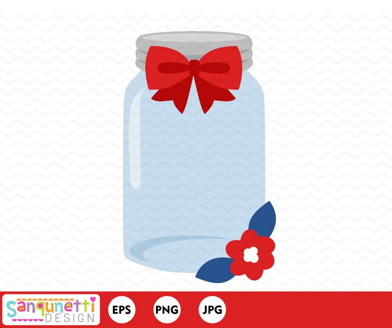 With red white and. Bow clipart mason jar