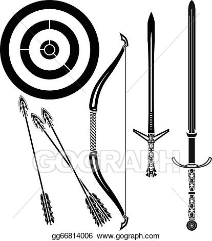 Vector stock bow and. Bows clipart medieval