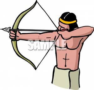 A man aiming bow. Bows clipart native american