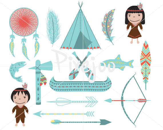 Clip art digital download. Bows clipart native american