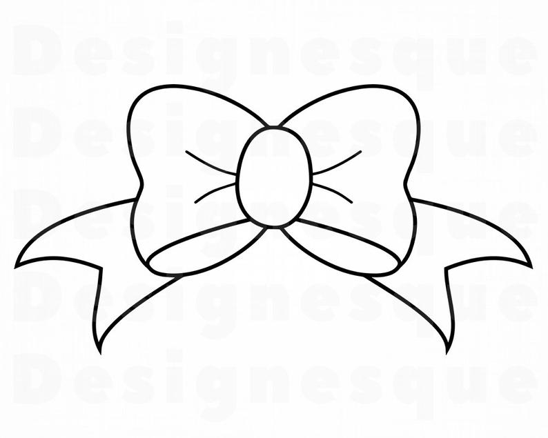 Svg tie ribbon files. Bow clipart outline