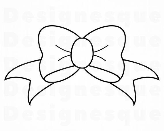 Bow clipart outline. Svg tie ribbon files