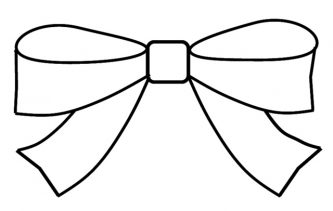 Present black and white. Bow clipart outline