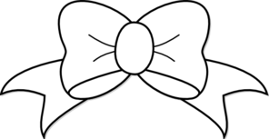 Bow clipart outline. White clip art at