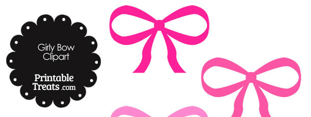 Bow clipart pink. Girly in shades of