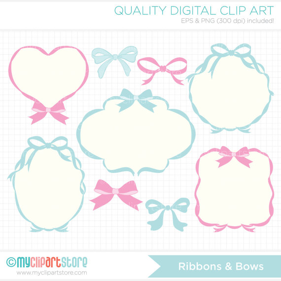 Frames ribbons blog header. Bows clipart princess