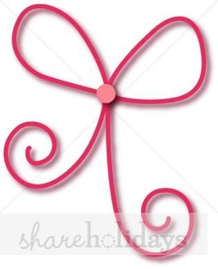 Anniversary clipart ribbon. Pink bow birthday and