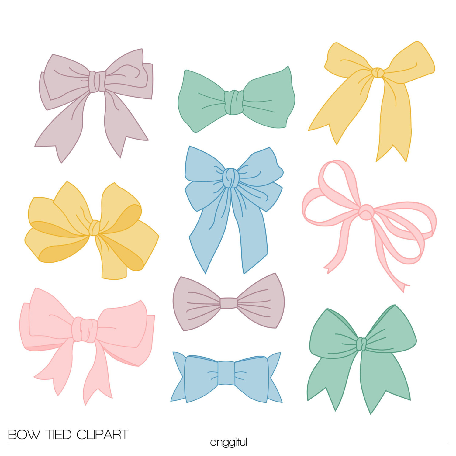 Bows clipart shabby chic. Vintage bow tied ribbons