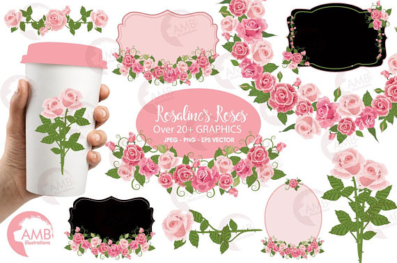 Bows clipart shabby chic. Rose frames and tags