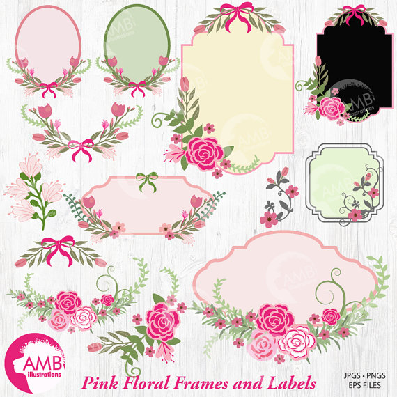 Floral frames and tags. Bows clipart shabby chic