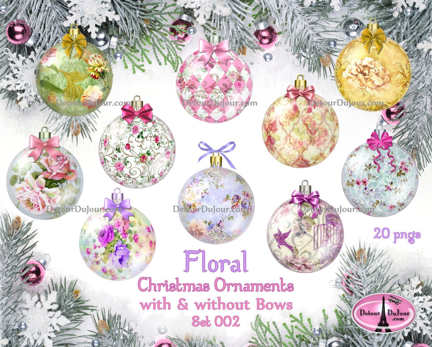 Bows clipart shabby chic. Christmas ornament with realistic