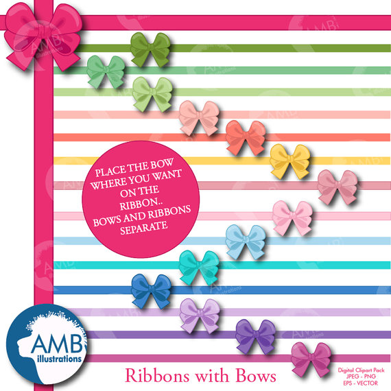 Ribbons and multi colored. Bows clipart shabby chic