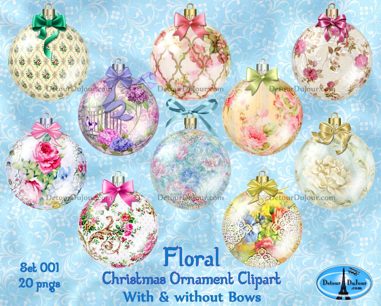 Christmas ornament clip art. Bow clipart shabby chic