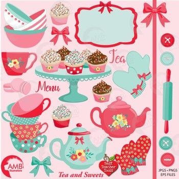 Bows clipart shabby chic. Tea time party amb