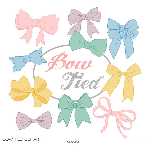 Vintage bow tied ribbons. Bows clipart shabby chic