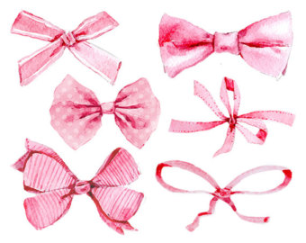 Bow clipart watercolor. Hair etsy pink bows