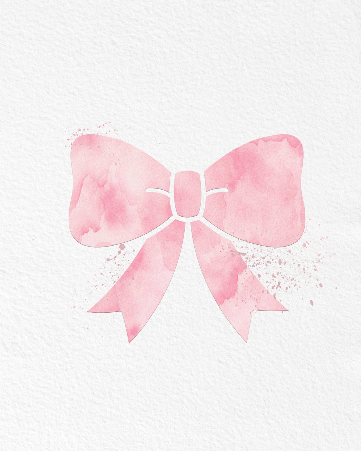 Art pink bow print. Bows clipart watercolor