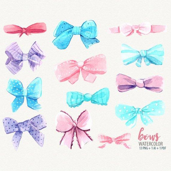 Bow clipart watercolor. Clip art pink aqua