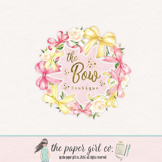 Bows clipart watercolor. Bow logo design shop