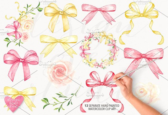 Bows clipart watercolor. Bow collection illustrations creative