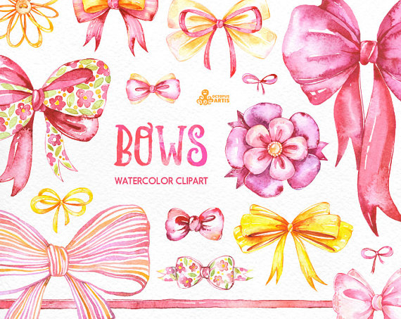 Bows clipart bowknot. Watercolor handpainted diy elements