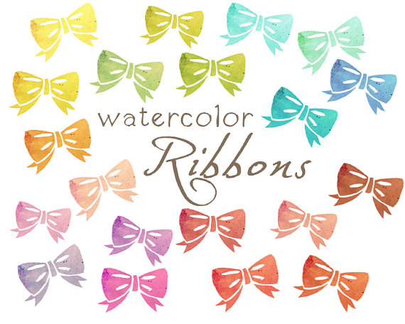 Digital ribbons paper . Bows clipart watercolor
