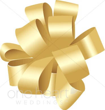 Gold bow. Bows clipart wedding