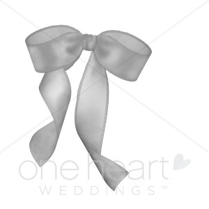 Bows clipart wedding. Gray ribbon bow