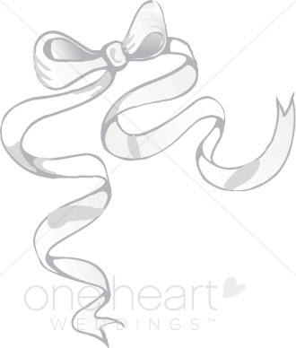 Silver ribbon bow. Bows clipart wedding