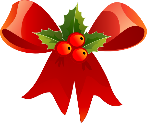 Christmas bow with holly. Bows clipart xmas