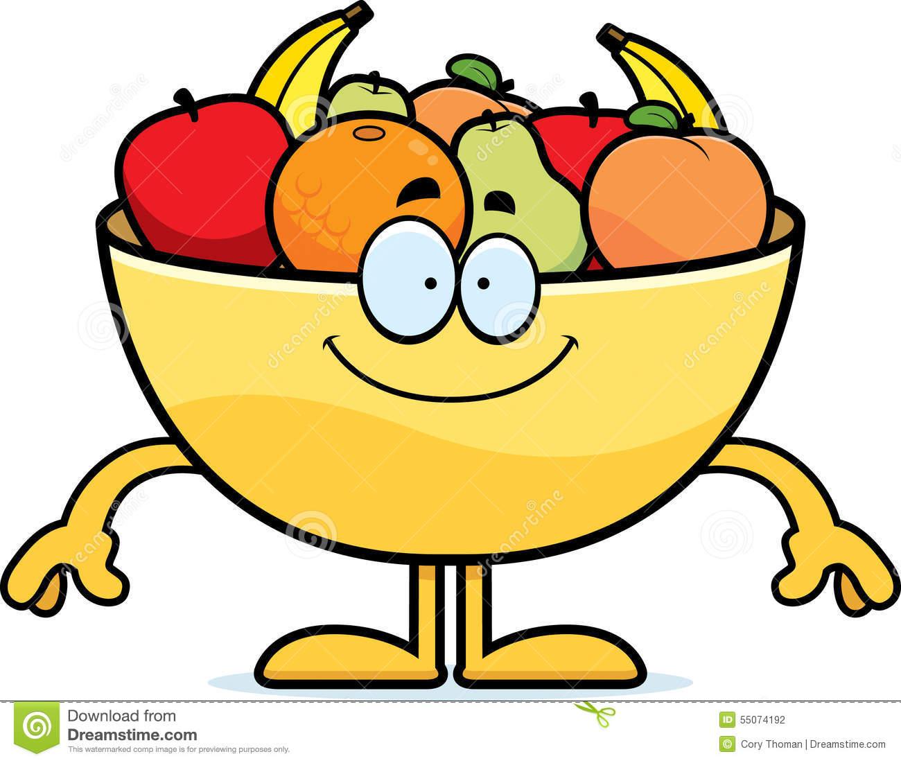 Fruit happy illustration looking. Bowl clipart cartoon