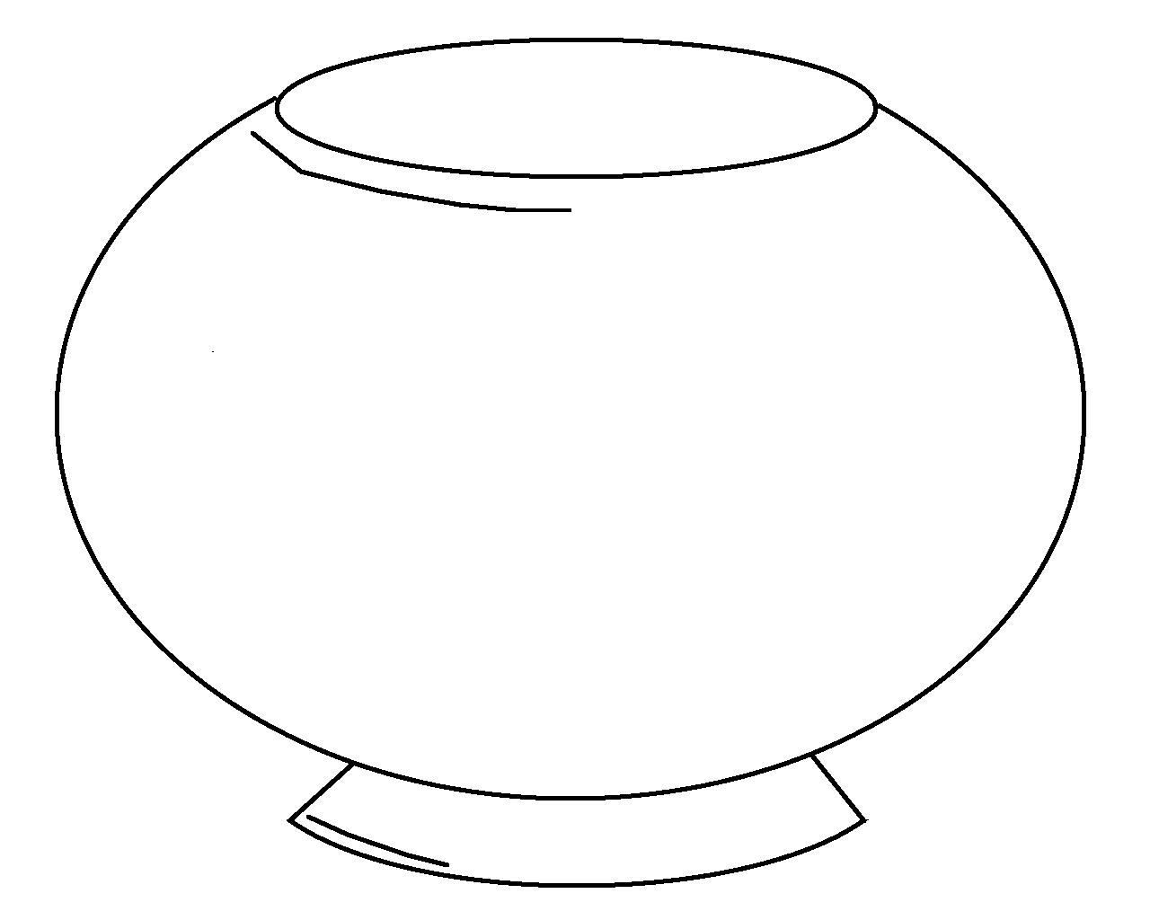Free fish bowl coloring. Fishbowl clipart empty vase