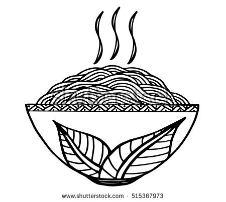 Doodle at vector illustration. Noodle clipart bowl drawing
