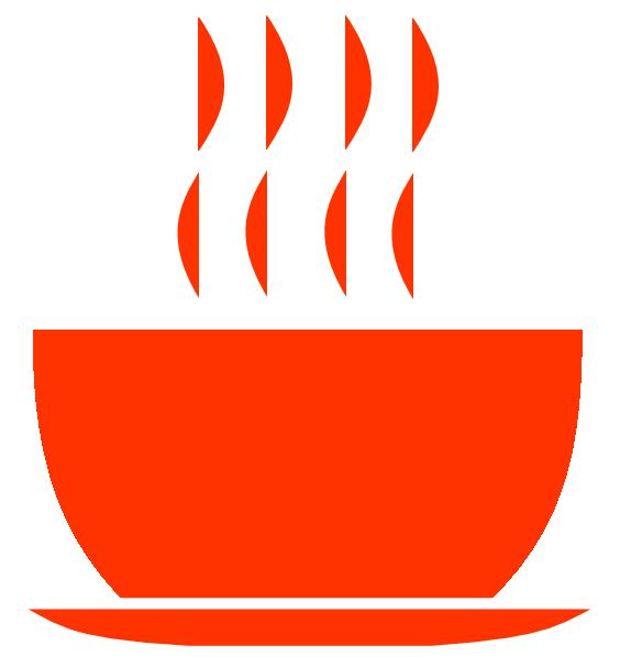 Orange hot bowl clip. Soup clipart vector