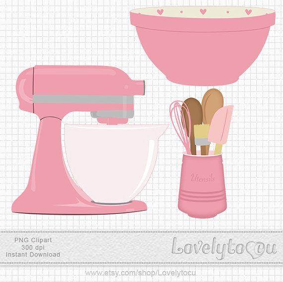 Bowl clipart pink. Kitchen baking clip art
